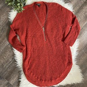 Express tunic length zip front sweater in rust